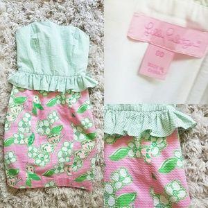 Lilly Pulitzer butterly peplum dress 00  strapless
